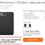 Ổ cứng di động WD dung lượng KHỦNG 1.5TB- Chính hãng | 1,3 triệu sau mã