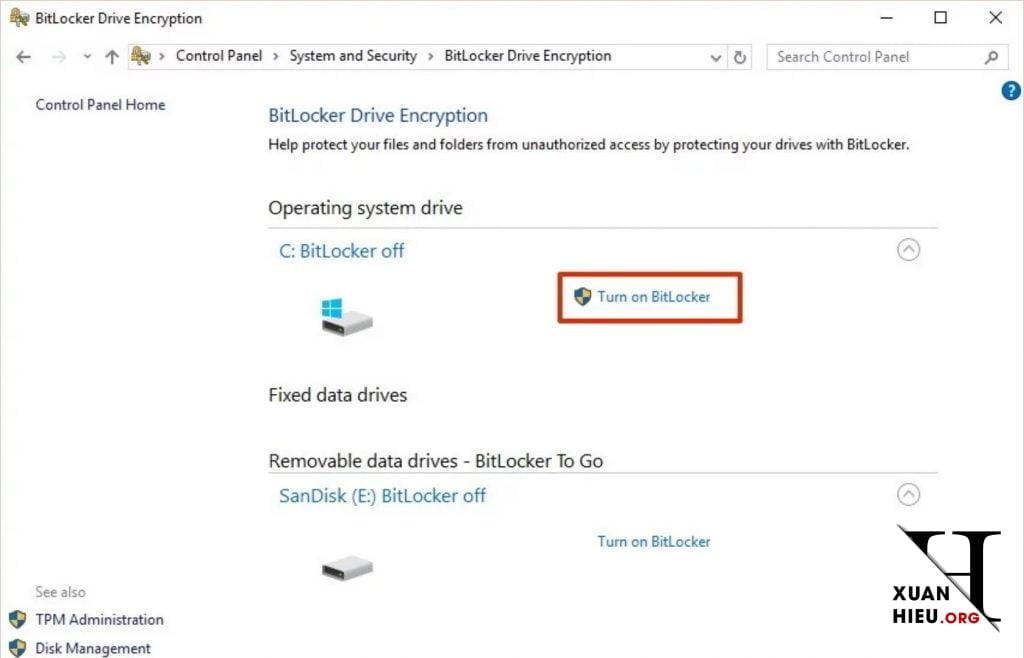 cach tao mat khau o cung voi bitlocker tren windows 10 5 xuanhieu org 1024x658 - Cách Tạo mật khẩu ổ cứng với BitLocker trên Windows 10